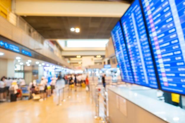Arrière-plan flou de l'intérieur de l'aéroport Photo Premium