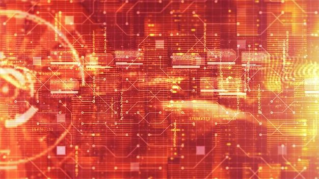 Arrière-plan holographique d'affichage numérique et de circuit hi-tech hud. concept technologique Photo Premium