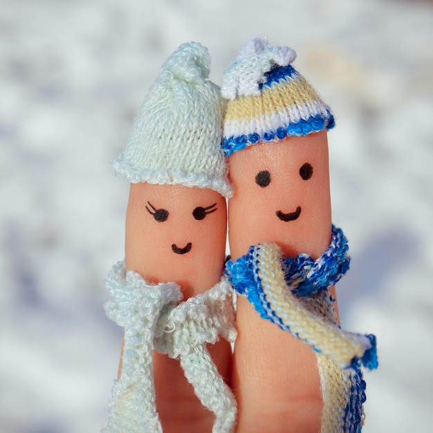 Art De Doigt D'un Couple Heureux Photo Premium