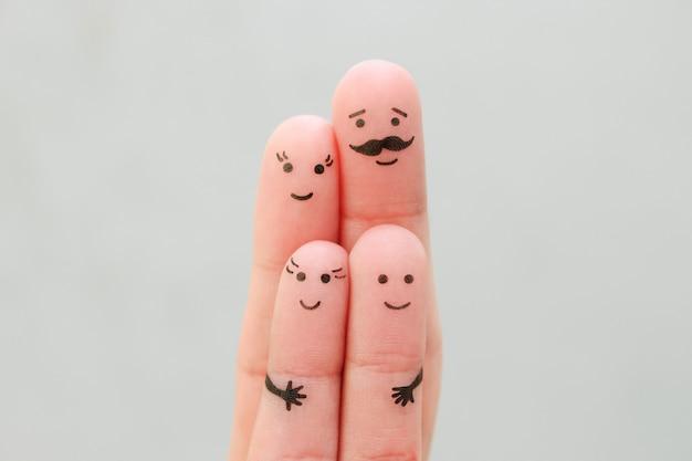 Art Des Doigts De Famille Heureuse. Concept Parents Et Enfants Ensemble. Photo Premium