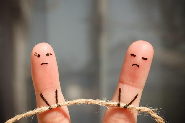 Art du doigt du couple. Photo Premium