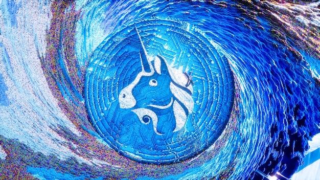 Art Numérique Du Logo Uniswap. Symbole De Crypto-monnaie Illustration 3d Futuriste. Fond De Crypto. Photo Premium