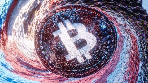 Art Numérique Logo Bitcoin. Symbole De Crypto-monnaie Illustration 3d Futuriste. Fond De Crypto. Photo Premium