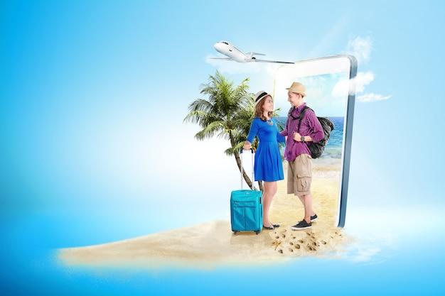 Asiatique, couple, valise, sac, dos, debout, plage Photo Premium