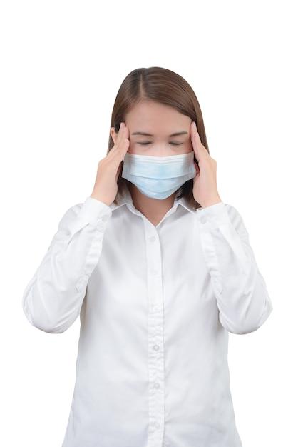 Asiatique, femme, mal tête, à, masques protecteurs Photo Premium