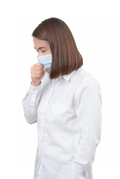 Asiatique femme tousse avec des masques de protection Photo Premium