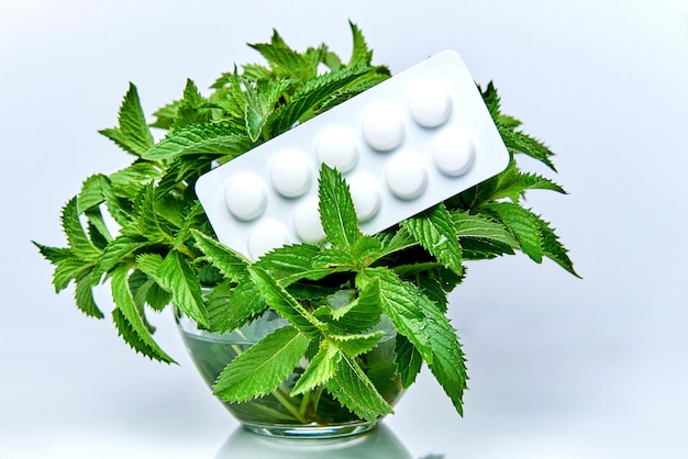 Une assiette de pilules repose sur les branches de menthe dans un bol en verre avec de l'eau. Photo Premium