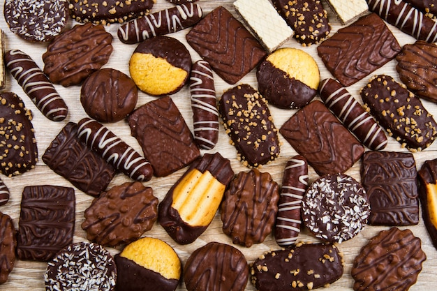 Assortiment de biscuits au chocolat Photo Premium