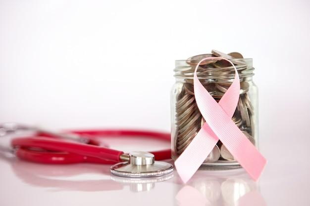 Assurance maladie et économie de cancer du sein pour le concept d'assurance maladie medical healthcare Photo Premium