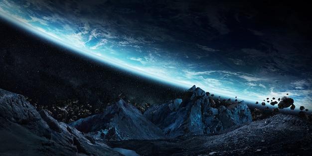 Astéroïdes gigantesques sur le point de planter le rendu 3d terrestre Photo Premium