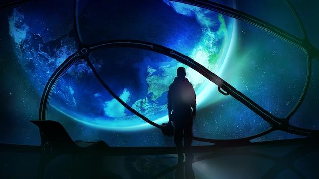 Astronaute Regardant La Terre Photo Premium