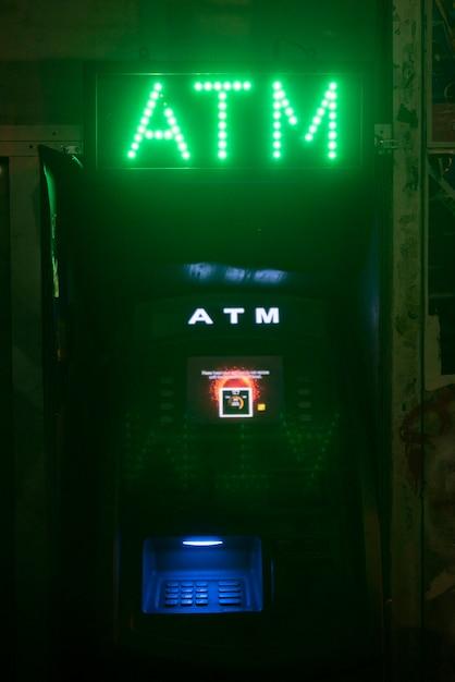 Atm néons pour changer le signe de l'argent Photo gratuit