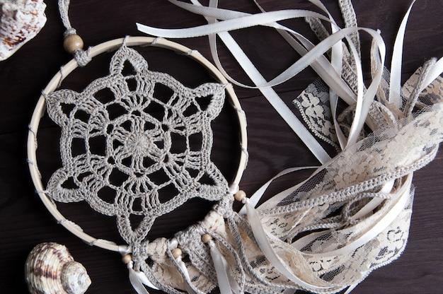 Attrape-rêves En Crochet Beige Photo Premium