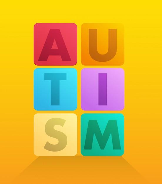 Autisme énoncé dans le vecteur de blocs Photo Premium