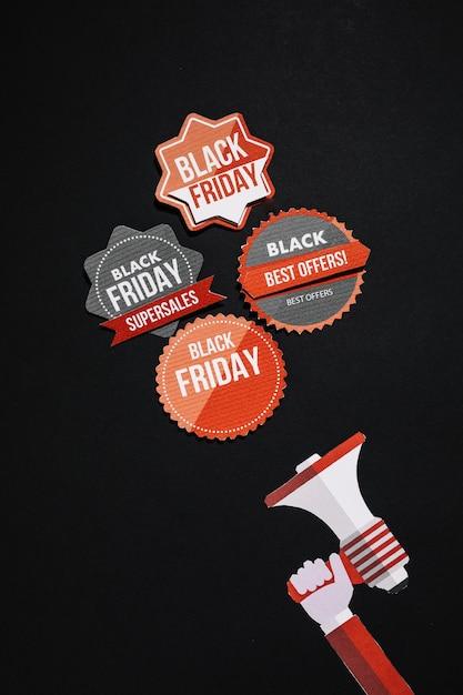 Autocollants et mégaphone vintage vendredi noir Photo gratuit