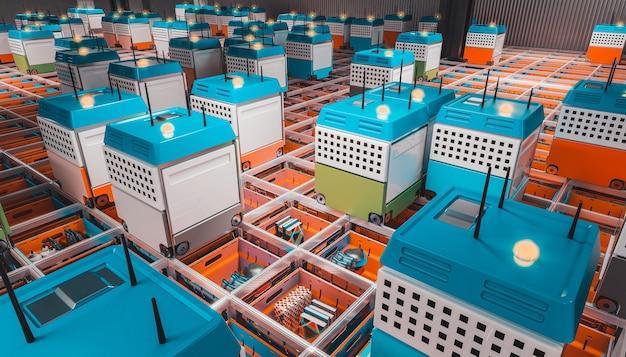 Automatisation D'un Entrepôt Moderne. Photo Premium