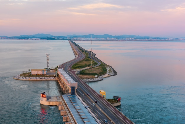 Autoroute de l'île de daebu à incheon, corée du sud. Photo Premium