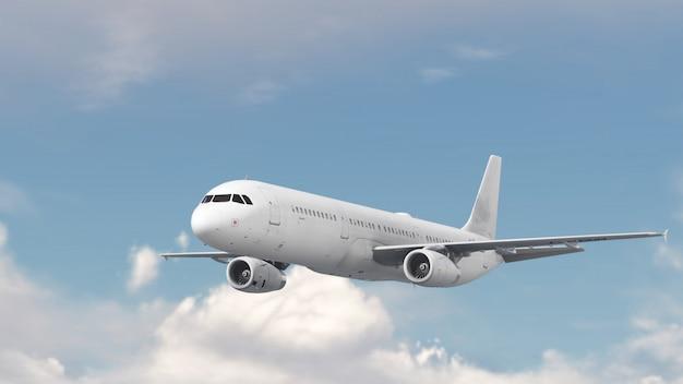 Avion sur nuage bleu ciel Photo Premium
