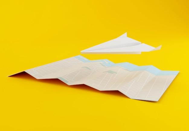 Avion en papier 3d avec carte du monde Photo Premium