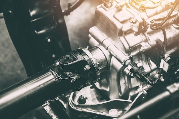 Axe d'axe de vehicule de la transmission de puissance a la roue du wagon Photo Premium