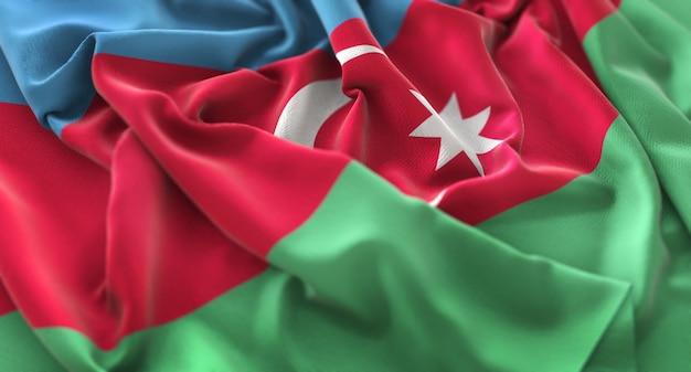 Azerbaïdjan flag ruffled beautifully waving macro plan rapproché Photo gratuit