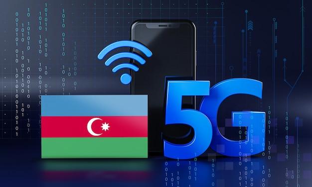 L'azerbaïdjan Prêt Pour Le Concept De Connexion 5g. Fond De Technologie Smartphone De Rendu 3d Photo Premium