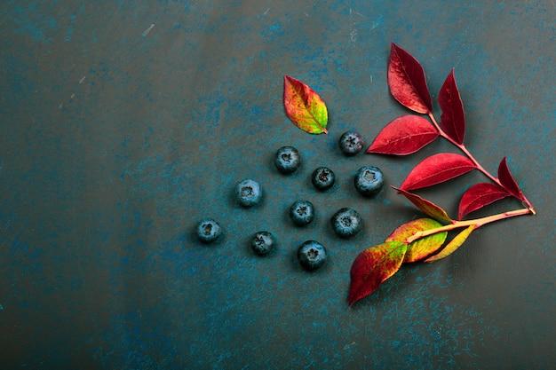 Baies de myrtille avec des feuilles sur un fond sombre. beau fond d'automne Photo Premium