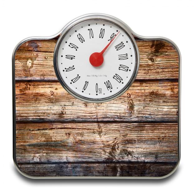 Balances pour les personnes avec du bois sur blanc Photo Premium