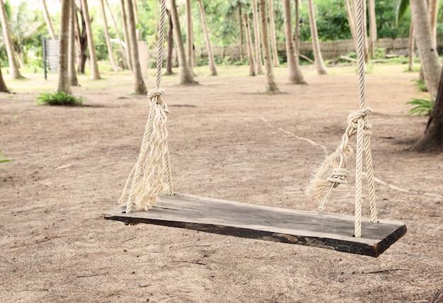 Balancoire En Bois Avec Corde Dans Le Parc Telecharger Des Photos