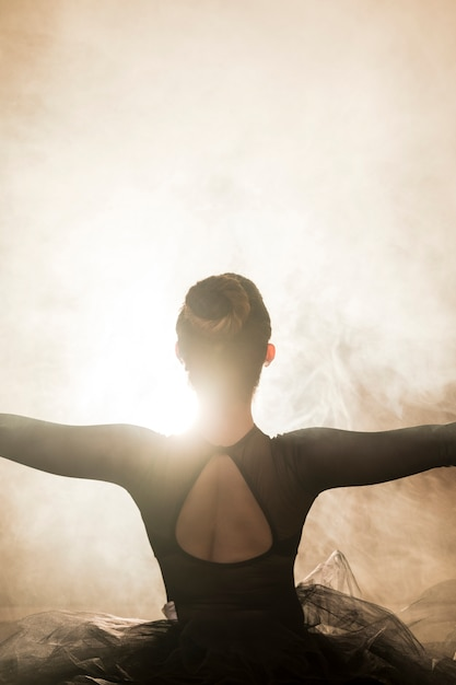 Ballerine vue de dos dans la fumée Photo gratuit