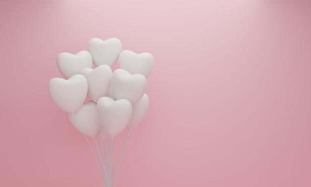 Ballon Coeur Blanc Sur Fond Pastel Rose. Concept De La Saint-valentin. Rendu 3d Photo Premium