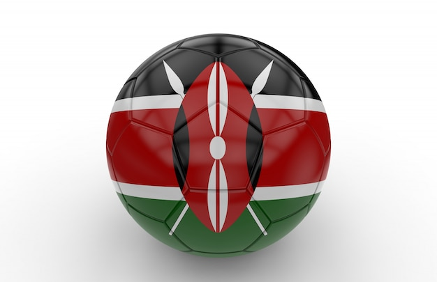 Ballon de foot avec drapeau du kenya Photo Premium