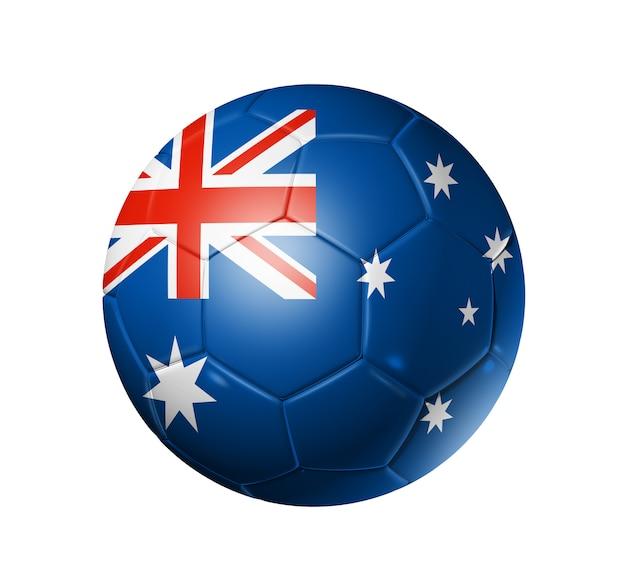 Ballon de football 3d avec drapeau de l'équipe d'australie, coupe du monde de football Photo Premium