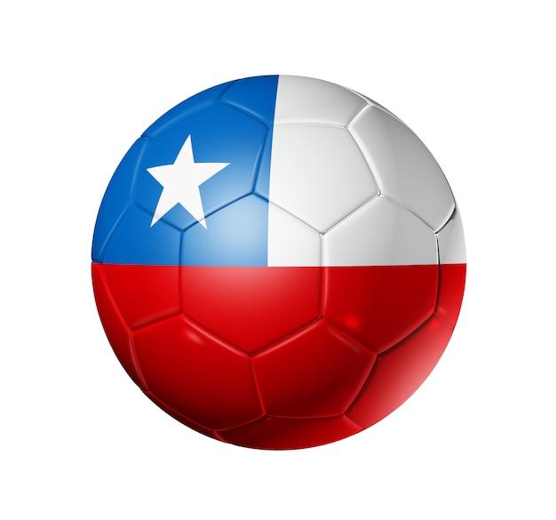 Ballon de football 3d avec drapeau de l'équipe du chili, coupe du monde de football Photo Premium
