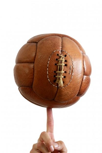 Ballon de football en cuir marron rétro vintage Photo Premium