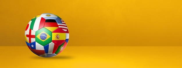 Ballon De Football De Football Avec Des Drapeaux Nationaux Isolés Sur Une Bannière De Studio Jaune. Illustration 3d Photo Premium
