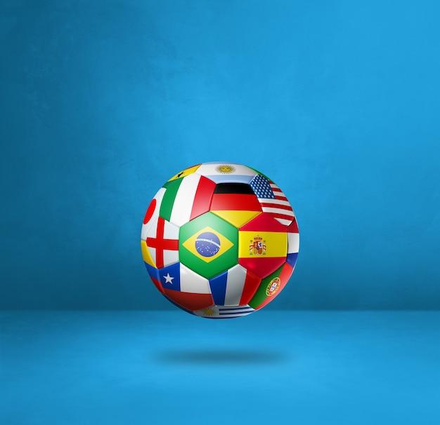 Ballon De Football De Football Avec Des Drapeaux Nationaux Isolés Sur Un Fond De Studio Bleu. Illustration 3d Photo Premium