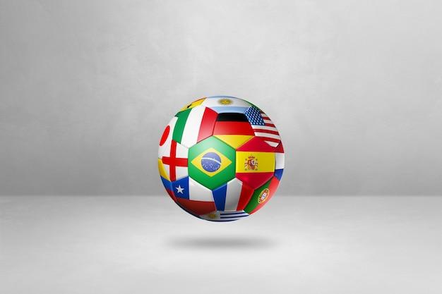 Ballon De Football De Football Avec Des Drapeaux Nationaux Isolés Sur Un Fond De Studio Vide. Illustration 3d Photo Premium