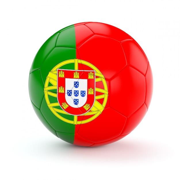 Ballon De Football Soccer Avec Le Drapeau Du Portugal Photo Premium