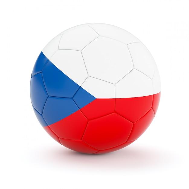 Ballon De Football Soccer Avec Le Drapeau De La République Tchèque Photo Premium