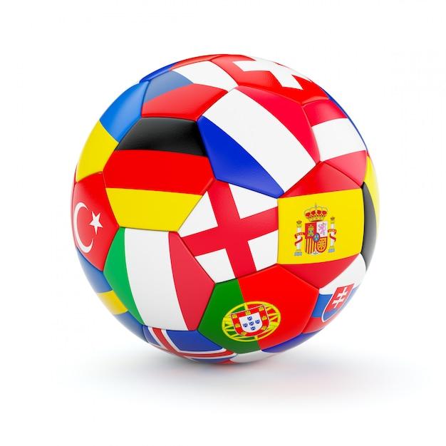 Ballon De Football Soccer Avec Des Drapeaux Des Pays Européens Photo Premium