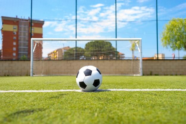 Ballon De Football Vintage Sur Terrain Herbeux Contre Net Photo Premium