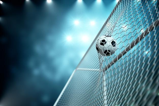 Ballon De Soccer De Rendu 3d Dans Le But. Ballon De Soccer En Filet Avec Projecteur Et Fond Clair De Stade, Concept De Réussite. Ballon De Soccer Sur Fond Bleu. Photo Premium