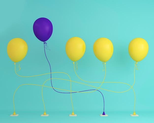 Ballon violet exceptionnel dans l'air une idée différente sur fond pastel bleu. co minimal Photo Premium