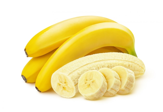 Banane sur fond blanc Photo Premium