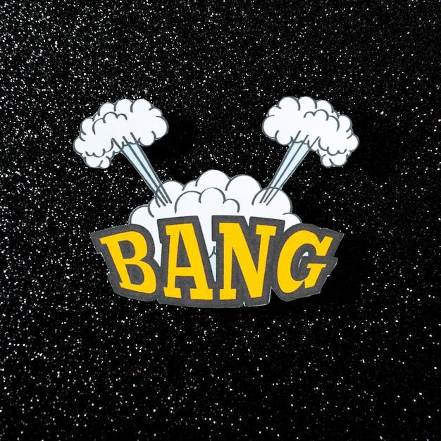 Bang mot rétro bulle de bande dessinée sur fond sombre Photo gratuit