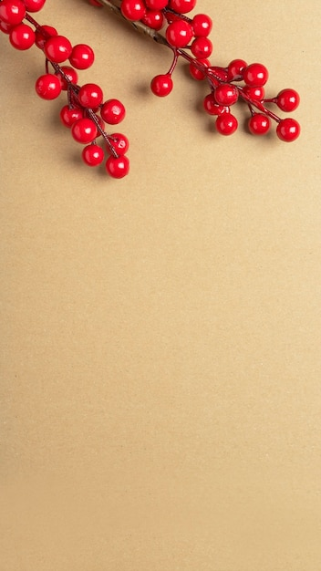 Bannière Brune Artisanale De Noël Avec Place Pour Le Texte Ou L'espace De Copie Avec Des Branches De Baies Rouges Ou De Viorne En Haut. Verticale Photo Premium