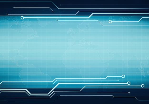 Bannière d'interface utilisateur virtuelle technologie commerciale bleu Photo Premium