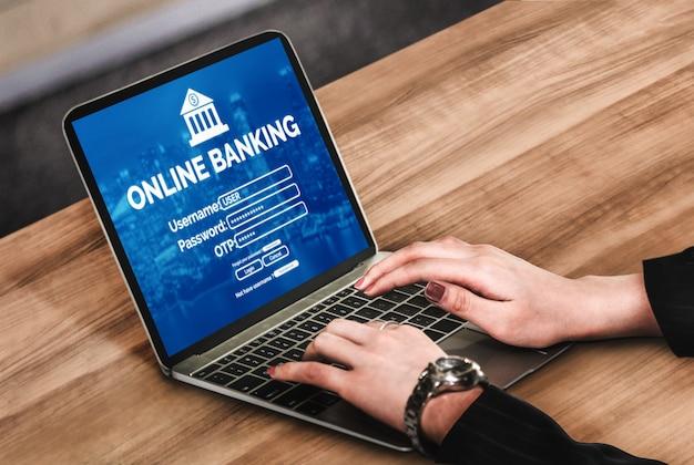 Banque En Ligne Pour La Technologie De L'argent Numérique Photo Premium