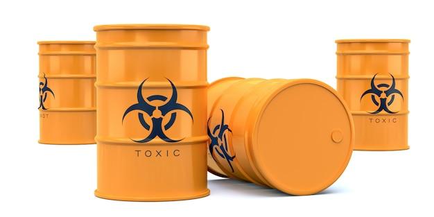 Barils de déchets toxiques jaune biohazard isolés on white Photo Premium
